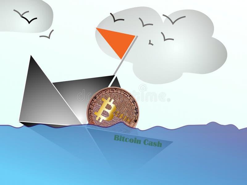 Efectivo de Bitcoin - hundiéndose para basar libre illustration