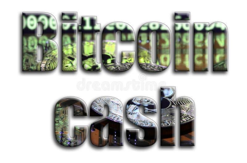 Efectivo de Bitcoin La inscripción tiene una textura de la fotografía, que representa varios bitcoins en un videocard del acelera ilustración del vector