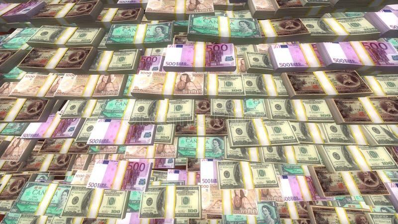 Efectivo del euro, del dólar y de los yenes, dinero que miente en paquetes, crisis financiera global imagen de archivo
