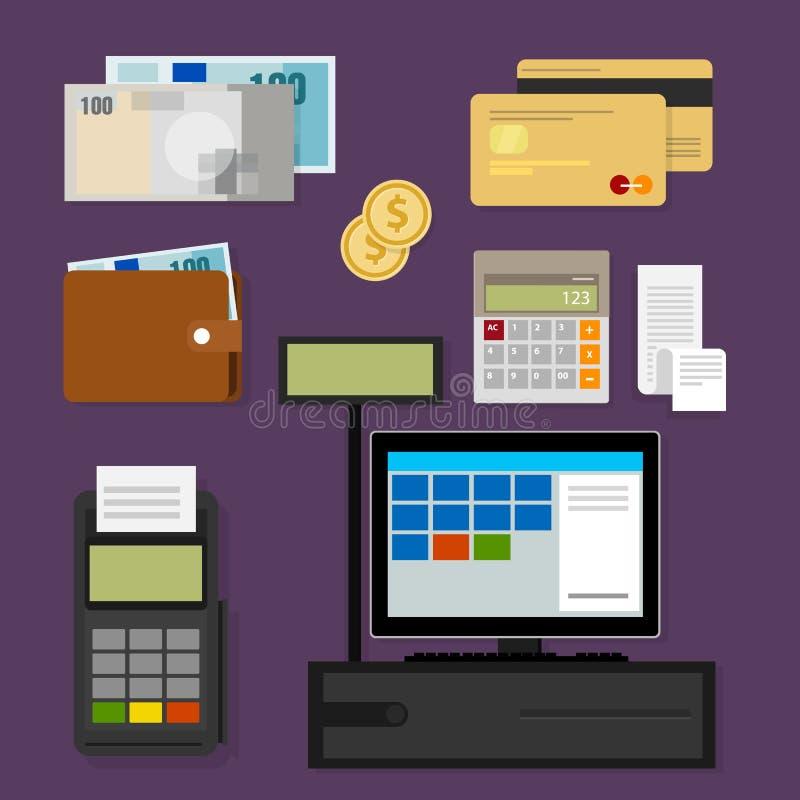 Efectivo del icono del registro de la posición de los puntos de venta del pago libre illustration