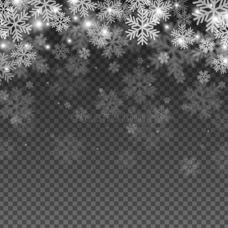 Efecto abstracto de la capa de los copos de nieve stock de ilustración