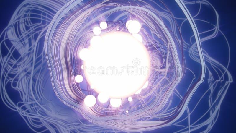Efecto abstracto del rastro del rastro de la representación 3d con la bola de la iluminación foto de archivo libre de regalías