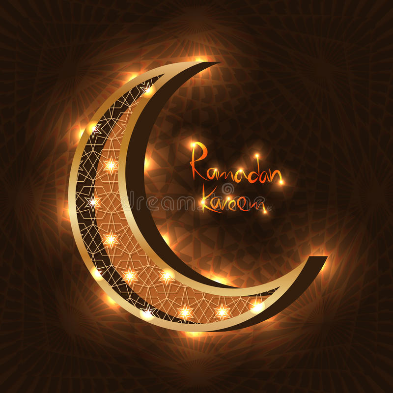 Efecto brillante de la luna del Ramadán del Islam stock de ilustración