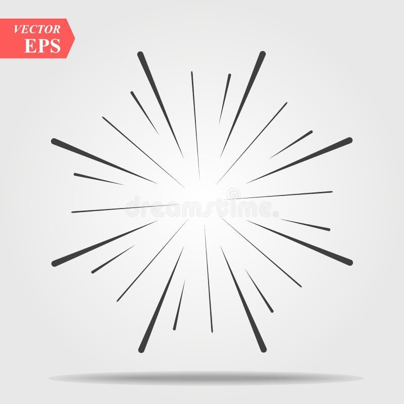 Efecto cómico de la explosión Irradiando, líneas radiales Starburst, elemento del resplandor solar libre illustration