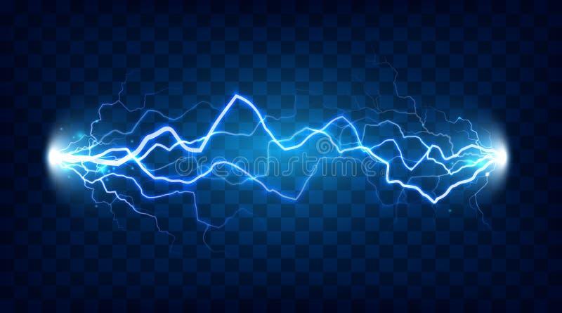 Efecto chocado de la descarga eléctrica para el diseño Accione el relámpago de la energía eléctrica o el vector aislado los efect stock de ilustración