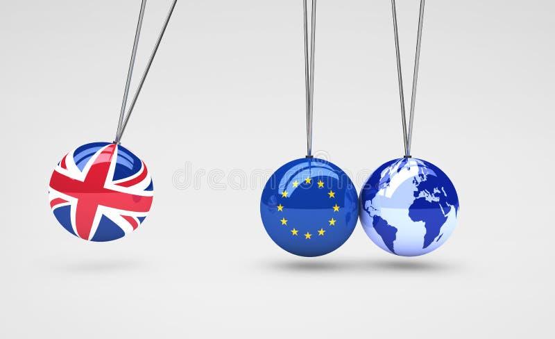 Efecto de Brexit y concepto de las consecuencias del negocio global stock de ilustración