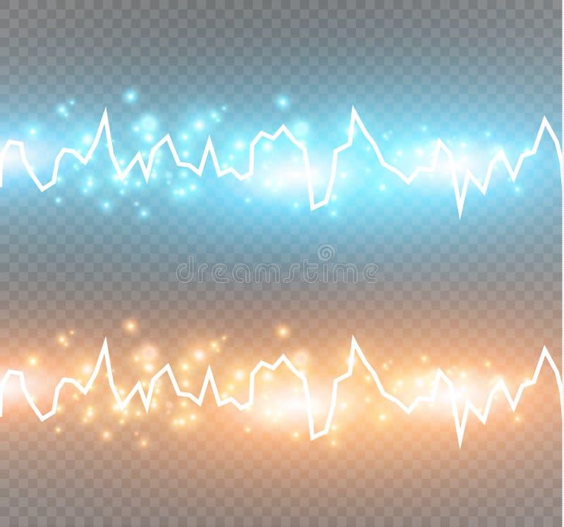 Efecto de choque de la energía con muchas partículas que brillan intensamente Descarga eléctrica en fondo transparente libre illustration