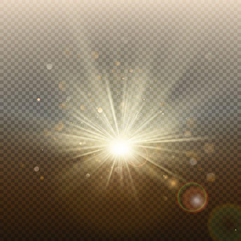 Efecto de destello brillante que brilla intensamente de oro de la puesta del sol o de la salida del sol Explosión caliente con lo libre illustration