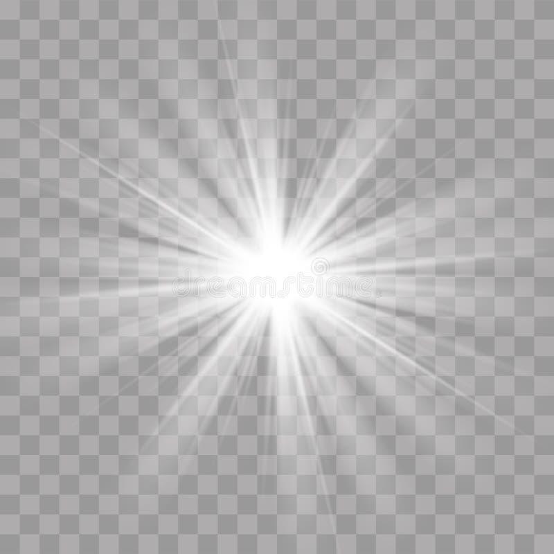 Efecto de destello de la resplandor del brillo de la estrella del sol de los rayos ligeros ilustración del vector