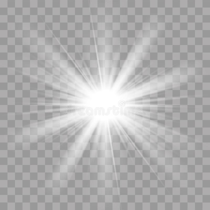 Efecto de destello de la resplandor del brillo de la estrella del sol de los rayos ligeros stock de ilustración