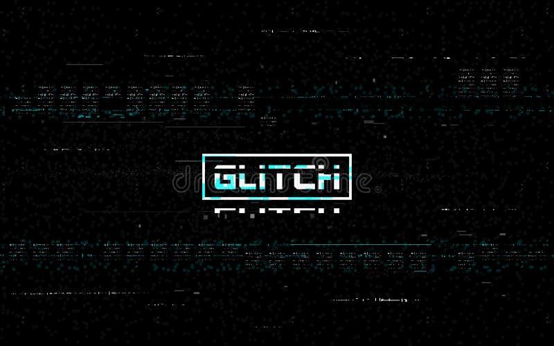 Efecto de distorsión del enganche VHS Ruido de vídeo y líneas blancas aleatorias Plantilla de rebobinado Analógico sin señal en n ilustración del vector