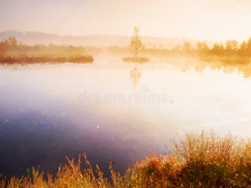 Efecto de la acuarela Árbol de abedul joven en la isla en el centro del lago del pantano Mañana púrpura stock de ilustración