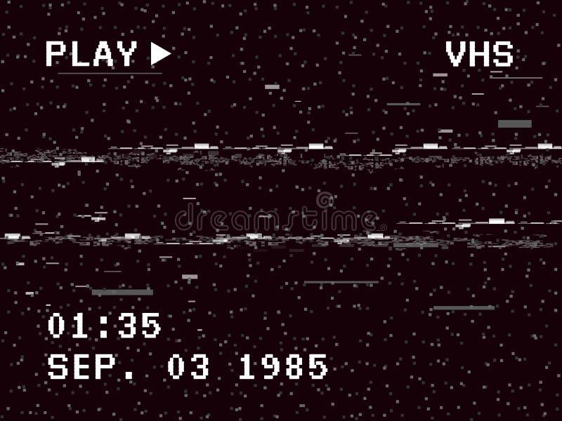 Efecto de la cámara de la interferencia Fondo retro de VHS Vieja plantilla video Ninguna señal Grabe el rebobinado Ilustración de stock de ilustración