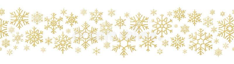 Efecto de la decoración del día de fiesta de la Feliz Navidad Modelo inconsútil del copo de nieve de oro EPS 10 libre illustration