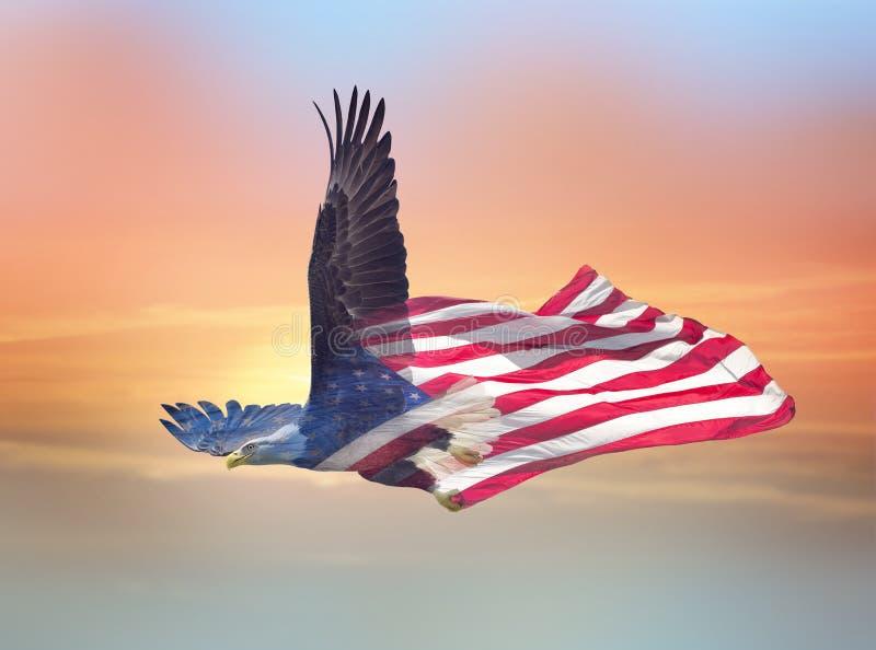 Efecto de la exposici?n doble del ?guila calva norteamericana sobre bandera americana imágenes de archivo libres de regalías