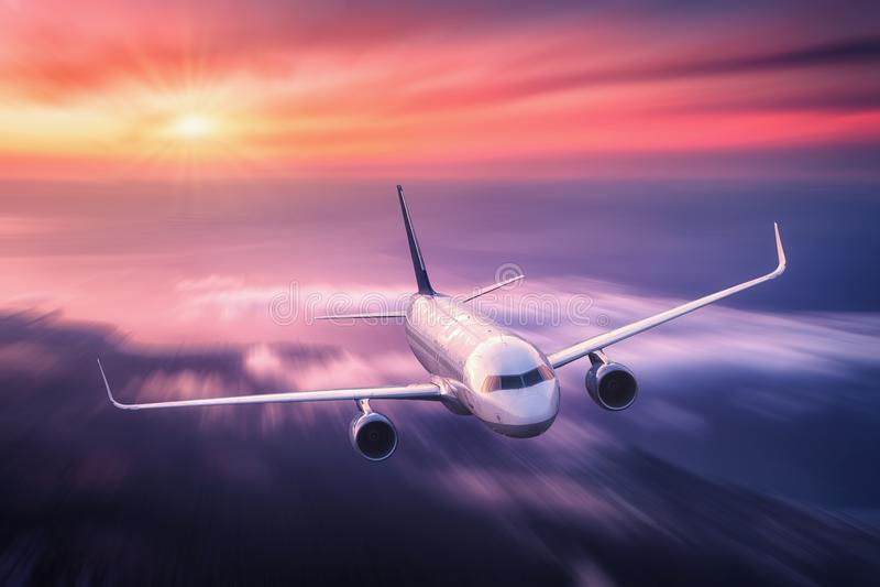 Efecto de la falta de definición de movimiento del mith del aeroplano del pasajero imágenes de archivo libres de regalías