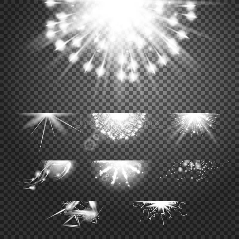 Efecto de la gloria del destello Soles blancos y brillantes del vector simple en fondo transparente stock de ilustración