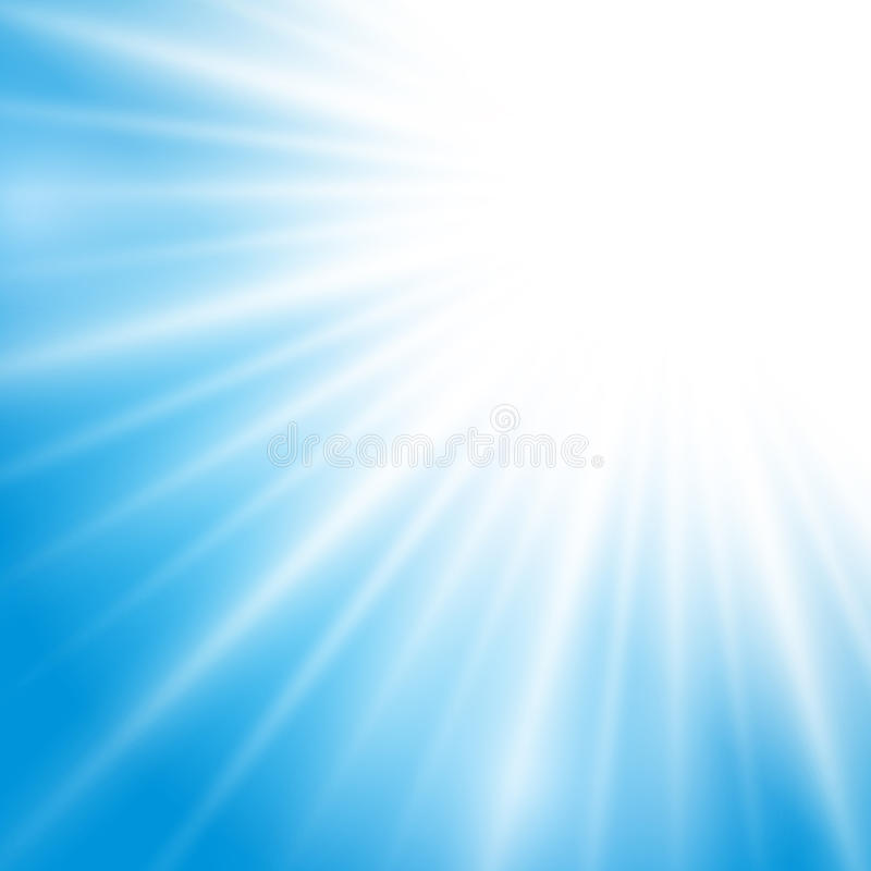 Efecto de la luz del sol del vector sobre fondo azul ilustración del vector