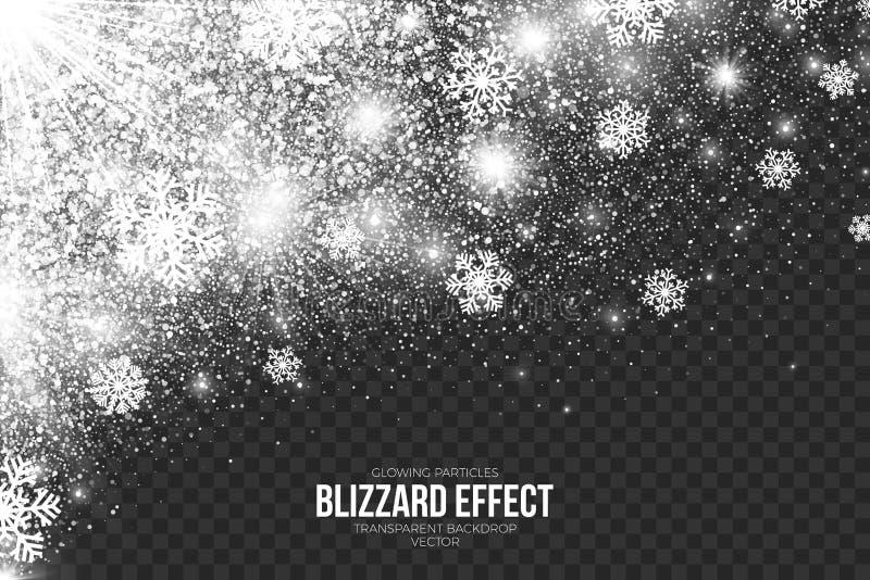 Efecto de la ventisca de la nieve sobre vector transparente del fondo ilustración del vector