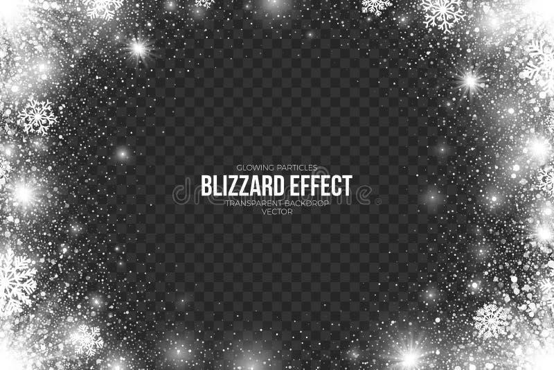 Efecto de la ventisca de la nieve sobre vector transparente del fondo stock de ilustración