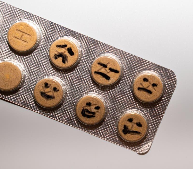 Efecto de las pastillas antidepresivas, ya que el tiempo pasa fotos de archivo