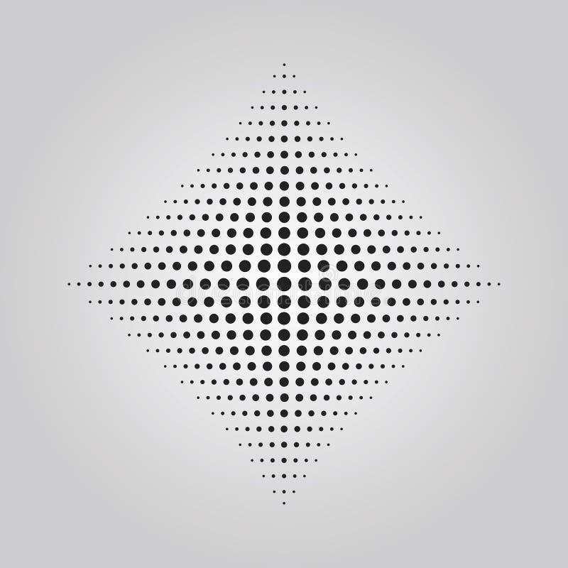 Efecto de semitono de la técnica de los puntos negros abstractos en la forma del elemento del diseño del Rhombus libre illustration