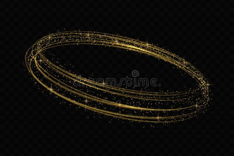 Efecto de trazado de la luz de oro del círculo del vector ilustración del vector