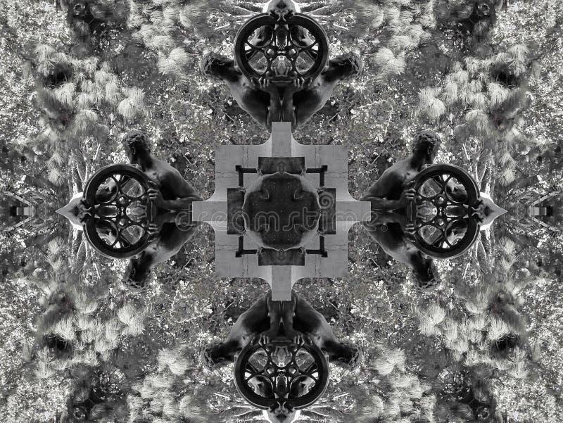Efecto del espejo de una escultura y de una vegetación ilustración del vector