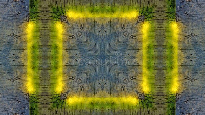 Efecto del espejo sobre un tablero de madera azul con las líneas amarillas libre illustration