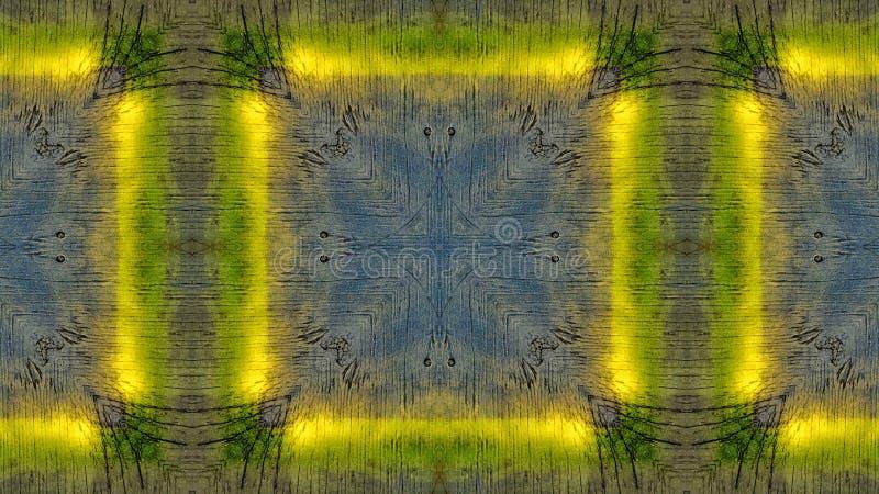 Efecto del espejo sobre un tablero de madera azul con las líneas amarillas ilustración del vector