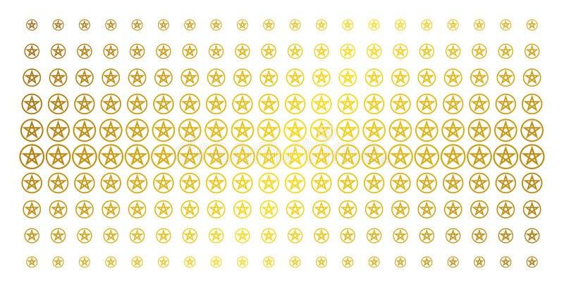 Efecto del tono medio del oro del pentáculo de la estrella ilustración del vector