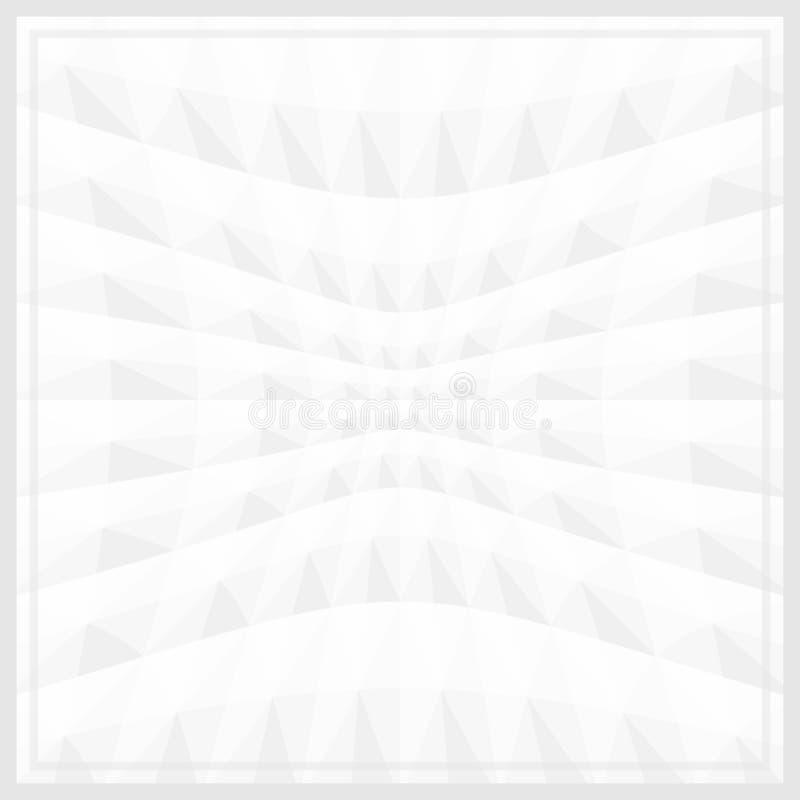 Efecto geométrico blanco de la onda del enfoque del marco de la bandera de la plantilla del color de gris para el fondo, gris bla ilustración del vector