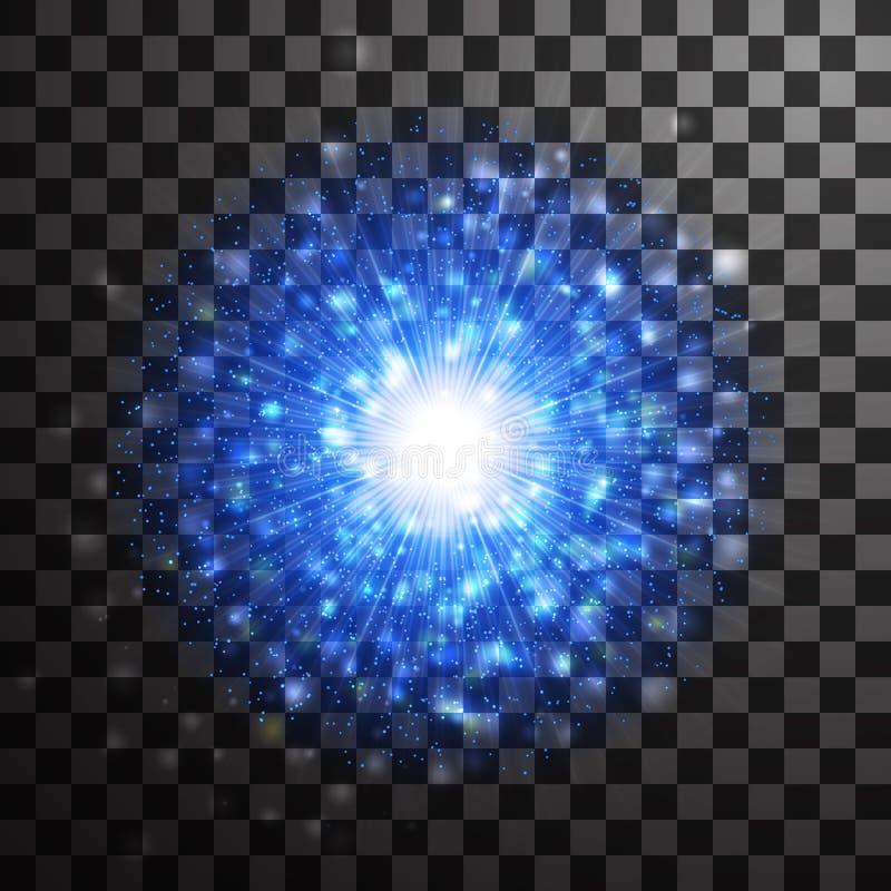 Efecto ligero azul del brillo de la estrella que brilla intensamente Tex chispeante del resplandor mágico ilustración del vector