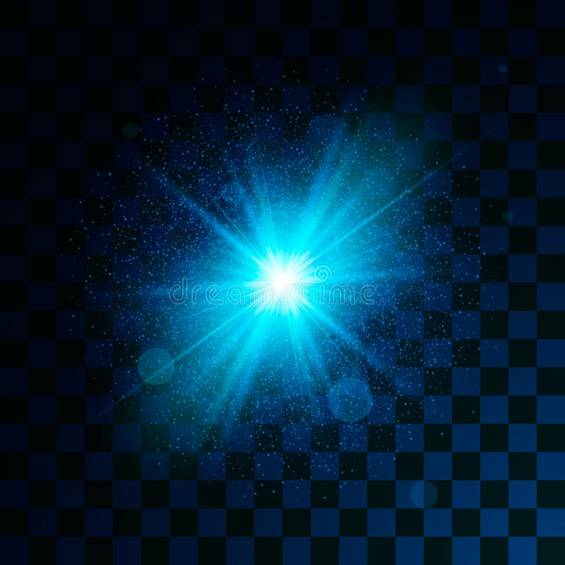 Efecto ligero azul del brillo que brilla intensamente sobre fondo transparente El polvo de estrella mágico chispea efecto luminos libre illustration