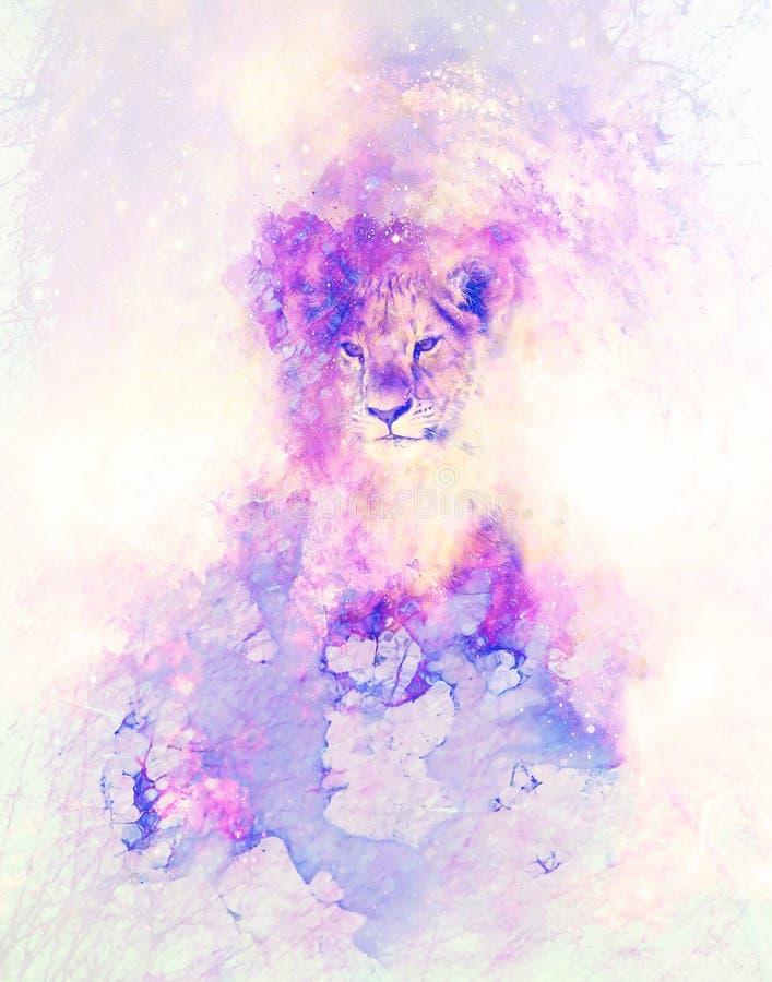 Efecto lindo del león y del graphivc Fondo suavemente borroso de la acuarela stock de ilustración