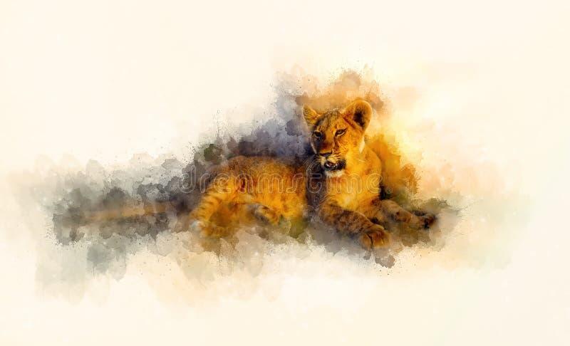 Efecto lindo del león y del graphivc Fondo suavemente borroso de la acuarela ilustración del vector