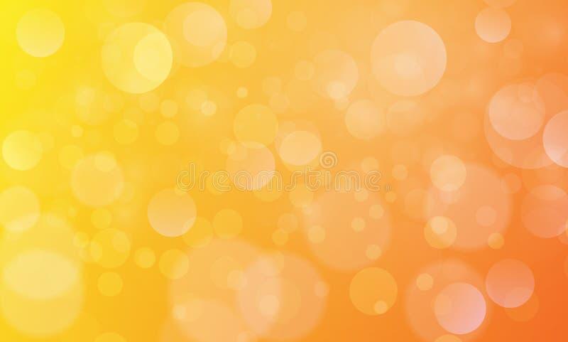 Efecto luminoso abstracto del bokeh con el fondo amarillo-naranja, textura del bokeh, fondo del bokeh, ejemplo del vector stock de ilustración