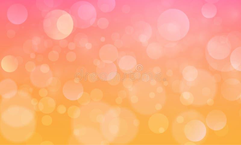Efecto luminoso abstracto del bokeh con el fondo amarillo-naranja, textura del bokeh, fondo del bokeh, ejemplo del vector ilustración del vector