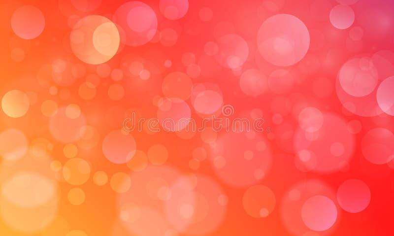Efecto luminoso abstracto del bokeh con el fondo anaranjado rojo, textura del bokeh, fondo del bokeh, ejemplo del vector stock de ilustración