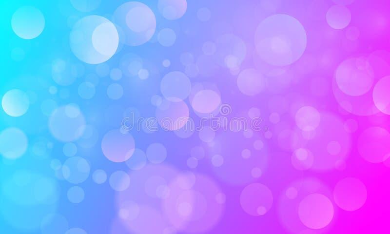 Efecto luminoso abstracto del bokeh con el fondo azul rosado, textura del bokeh, fondo del bokeh, ejemplo del vector ilustración del vector