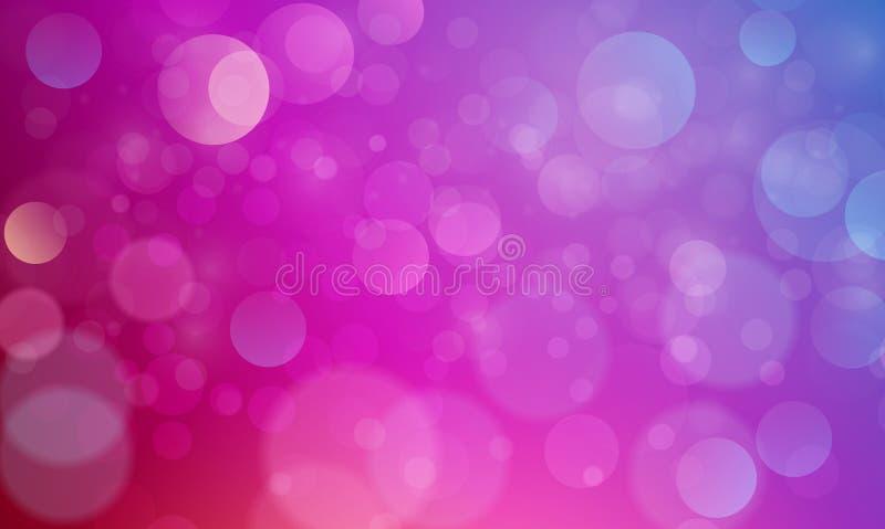 Efecto luminoso abstracto del bokeh con el fondo púrpura rosado, textura del bokeh, fondo del bokeh, ejemplo del vector stock de ilustración