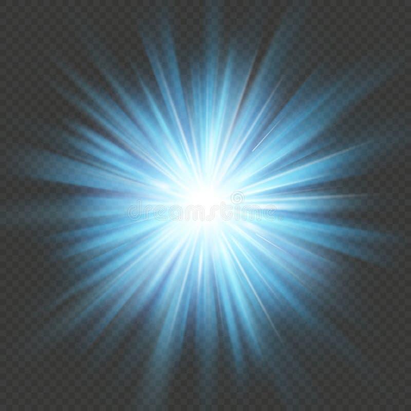 Efecto luminoso azul de la explosión de la llamarada de la explosión de la estrella del resplandor Aislado en fondo transparente  libre illustration