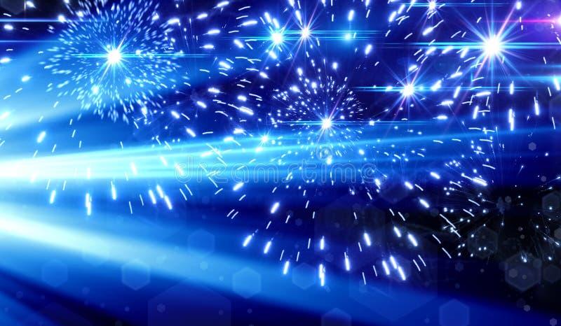 Efecto luminoso azul sobre el fondo negro, rayos laser, luz de destello, ilustración del vector
