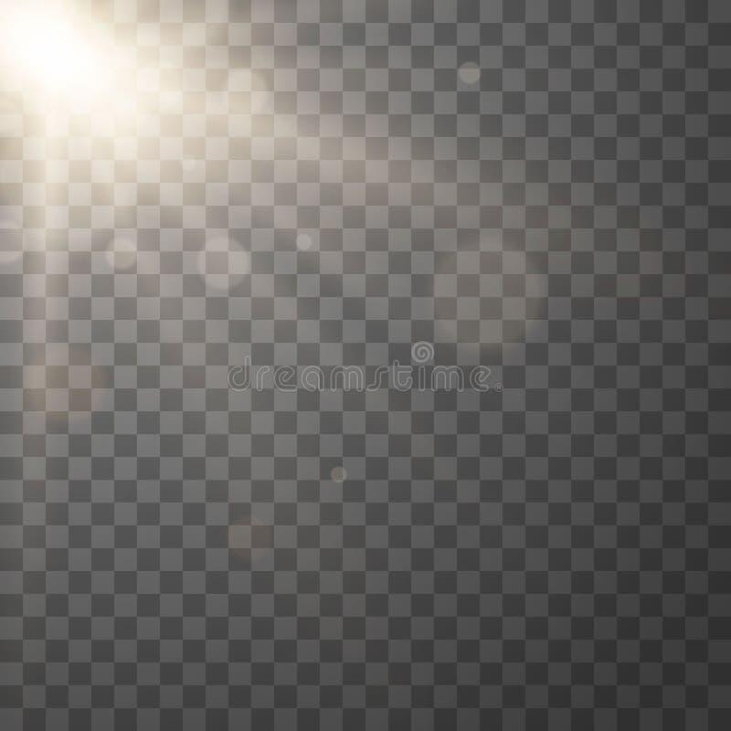 Efecto luminoso de la llamarada de la lente ilustración del vector