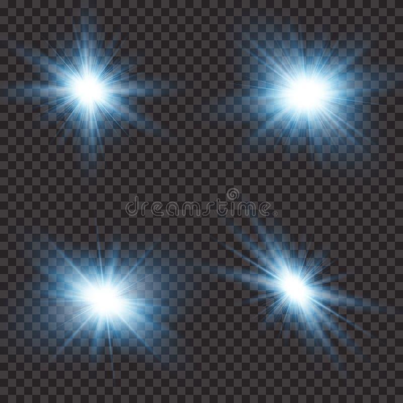 Efecto luminoso de la luz del sol de la llamarada transparente de la lente Explosión de la estrella con las chispas Ilustración d ilustración del vector