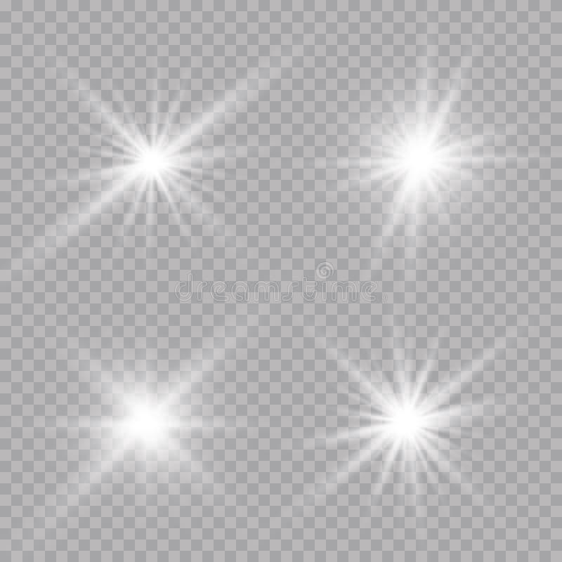 Efecto luminoso de la luz del sol de la llamarada transparente de la lente Explosión de la estrella con las chispas Ilustración d imagen de archivo