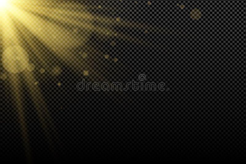 Efecto luminoso de oro encendido sobre un fondo transparente oscuro Bokeh de oro de los galres Flamas brillantes Rayos del oro Ex stock de ilustración