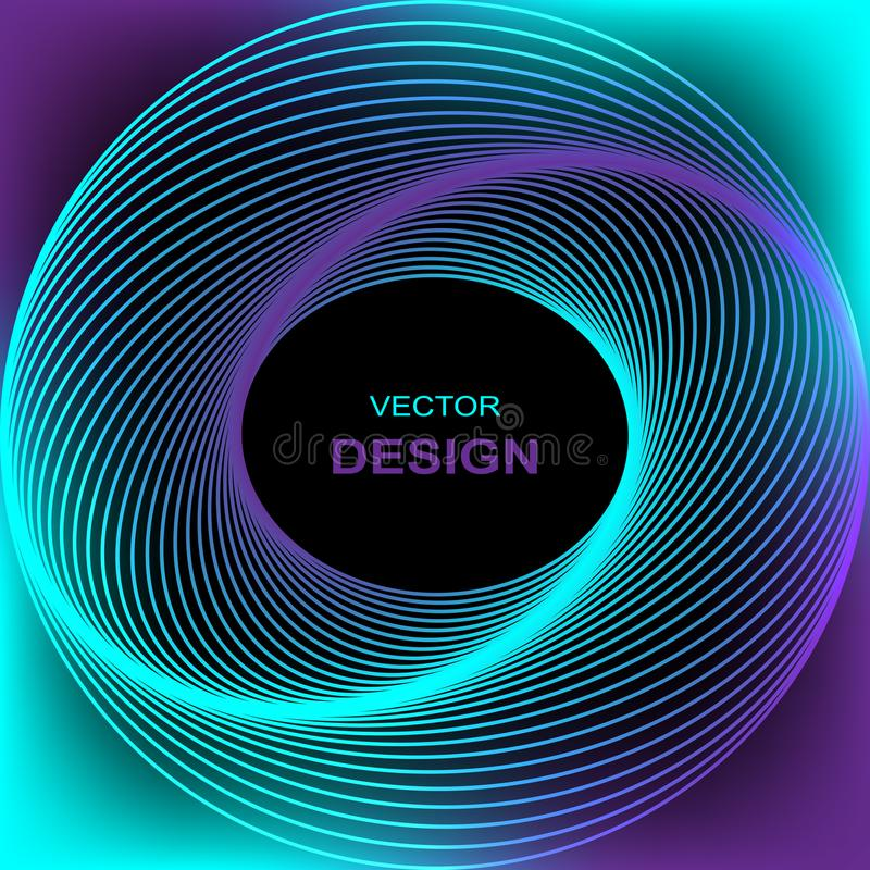 Efecto luminoso del círculo con las líneas azules abstraiga el fondo ilustración del vector