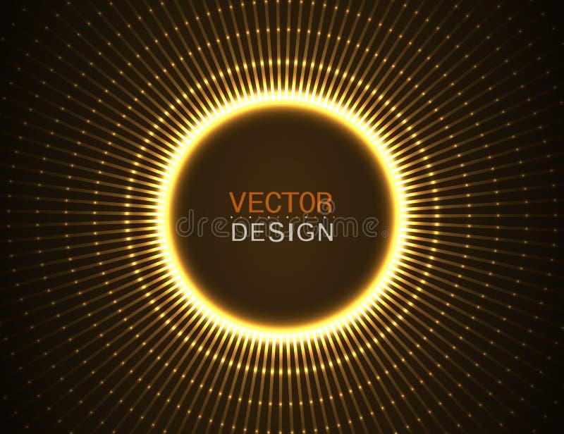 Efecto luminoso del círculo con las líneas azules abstraiga el fondo diseño gráfico de vector ilustración del vector
