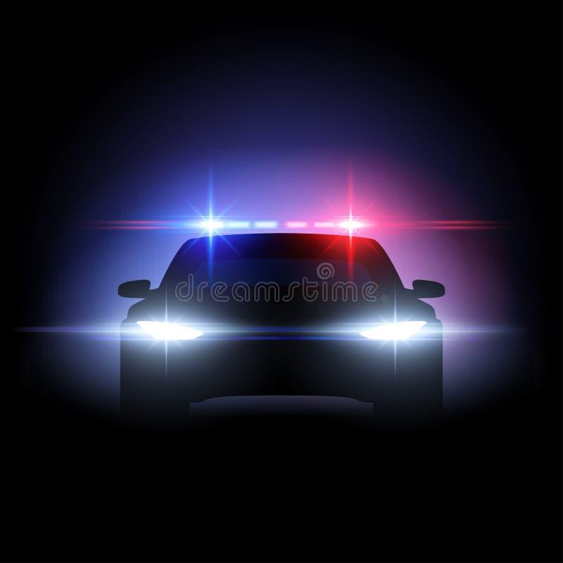 Efecto luminoso del coche policía stock de ilustración